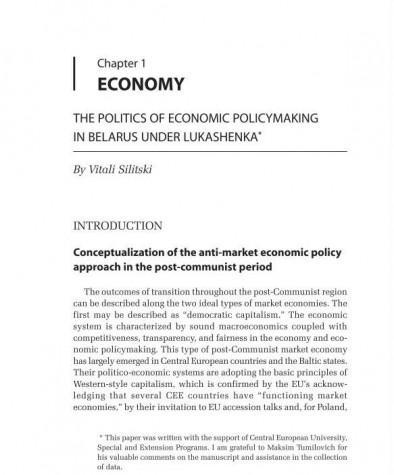 The politics of Economic Policymaking in Belarus under Lukashenka