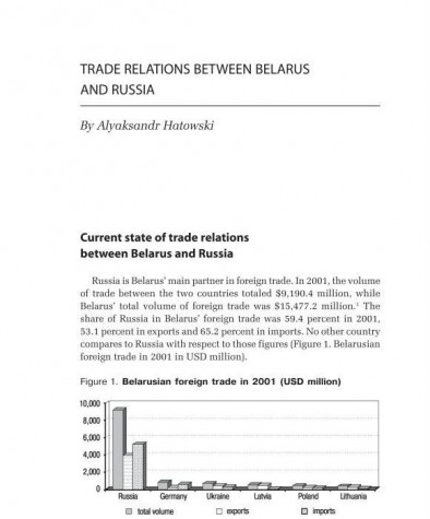 Trade Relations between Belarus and Russia