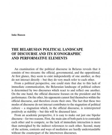 The Belarusian Political Landscape of Discourse and its Iconographic and Performative Elements