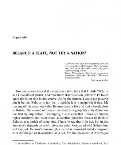 Belarus: A State, Not Yet a Nation