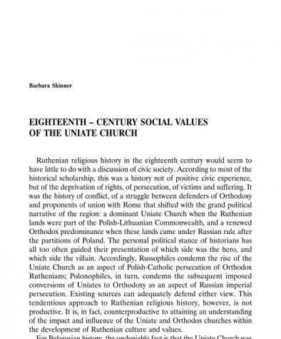 Eighteenth-Century Social Values of the Uniate Church