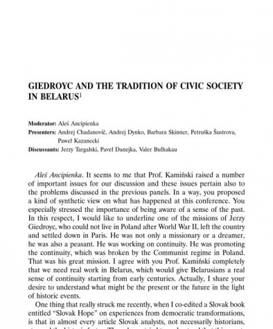 Giedroyc and the Tradition of Civic Society in Belarus. Statements