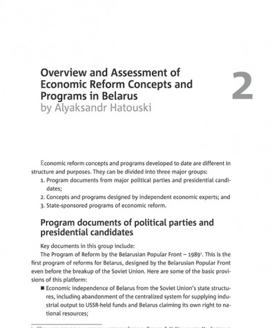 Overview and Assessment of Economic Reform Concepts and Programs in Belarus