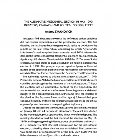 The Alternative Presidential Election in May 1999: Initiators, Campaign and Political Consequences