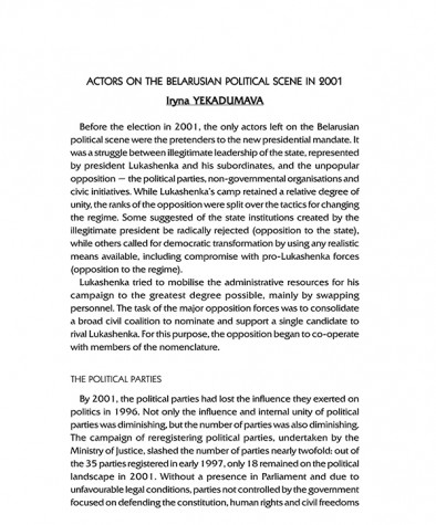 Actors on the Belarusian Political Scene in 2001