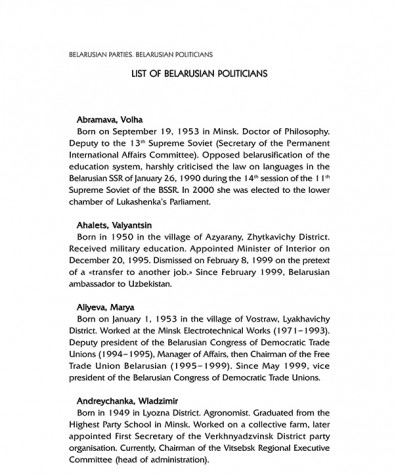 List of Belarusian Politicians
