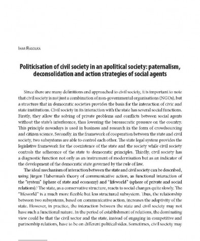 Politicisation of civil society in an apolitical society: paternalism, deconsolidation and action strategies of social agents
