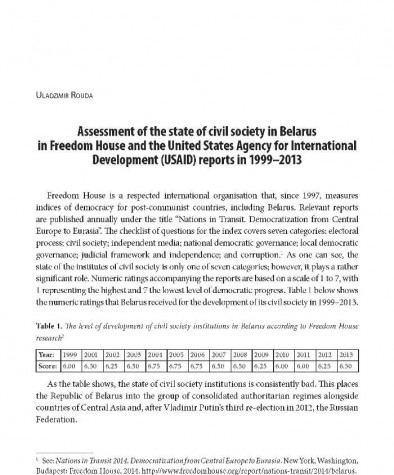 Assessment of the state of civil society in Belarus in Freedom House and the United States Agency for International Development (USAID) reports in 1999–2013